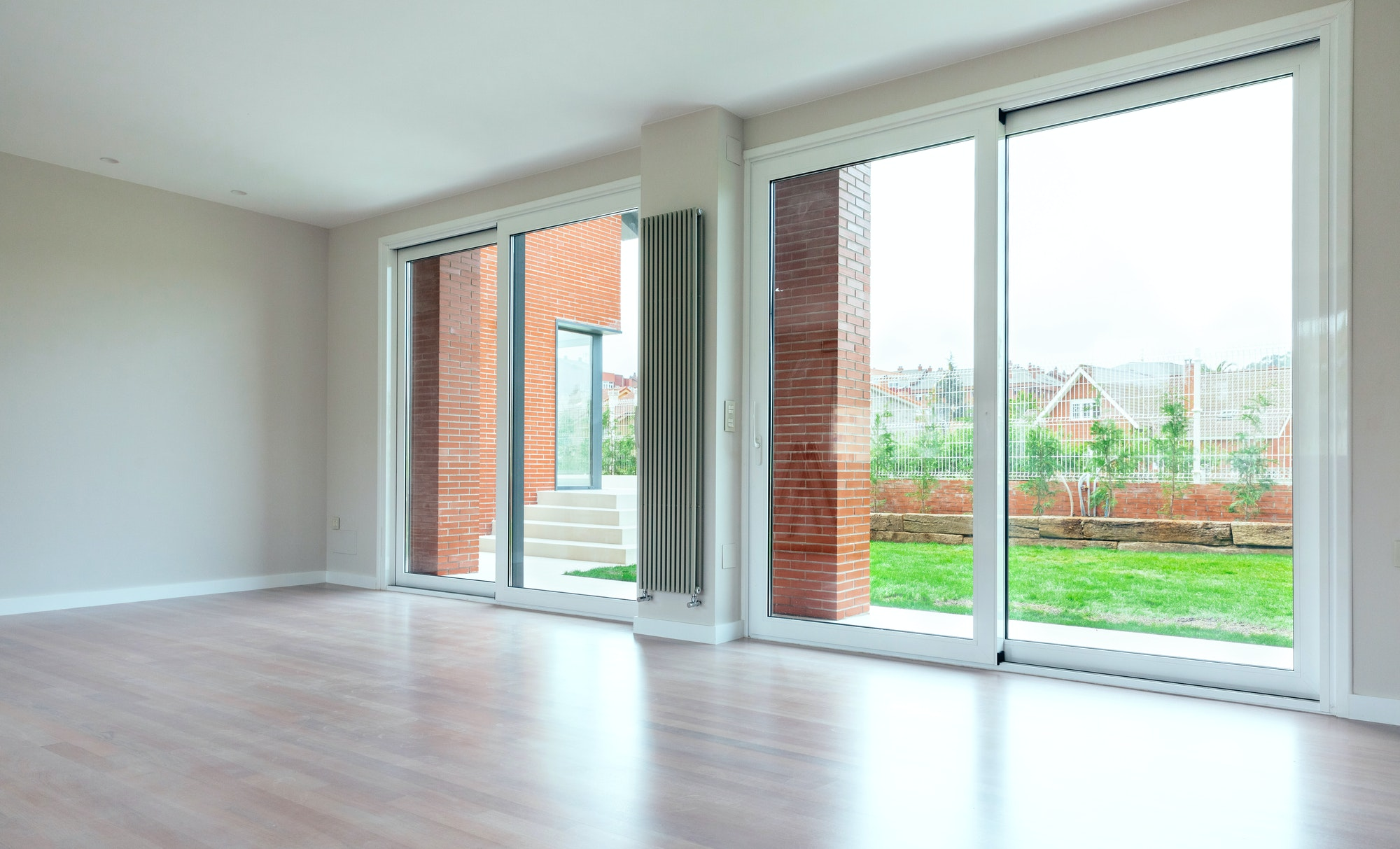 Large living room with large windows