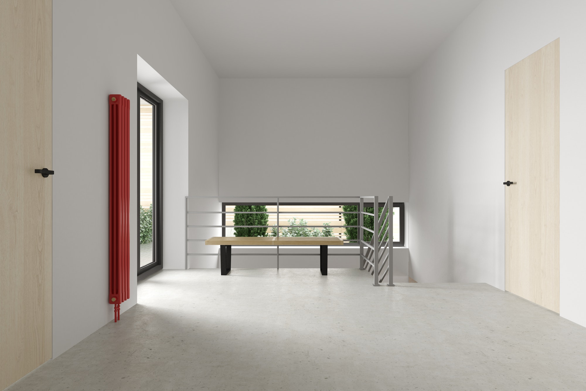 Modern apartment, entrance door 3D illustration